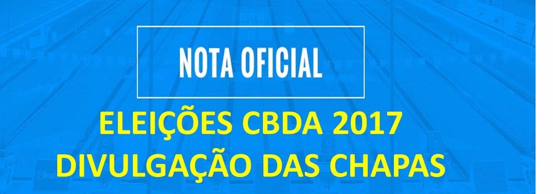 ELEIÇÕES CBDA 2017 - DIVULGAÇÃO DE CHAPAS