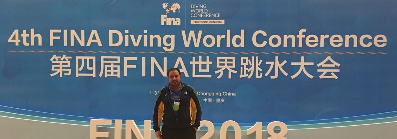 Supervisor de saltos ornamentais, Eduardo Falcão participa de conferência mundial da FINA