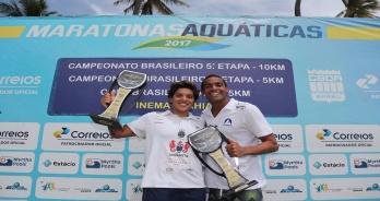 Ana Marcela e Allan do Carmo vencem a 5ª etapa do Brasileiro de 10km de Maratonas Aquáticas