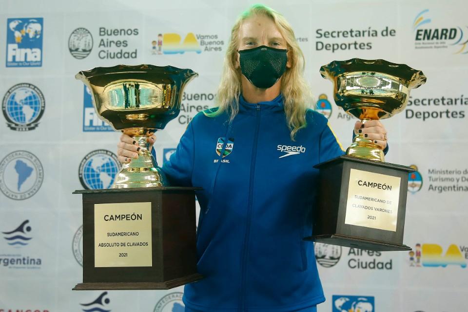Campeonato Sul-Americano de Desportos Aquatico Absoluto. Parque Olimpico da Juventude. 27 de marco de 2021, Buenos Aires, Argentina. Foto: Satiro Sodré/SSPress/CBDA