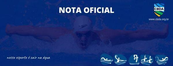 Nota oficial - Eventos dos Esportes Aquáticos em janeiro