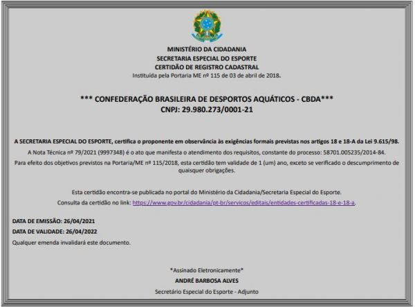 CBDA recebe Certidão de Registro Cadastral da Secretaria Especial do Esporte
