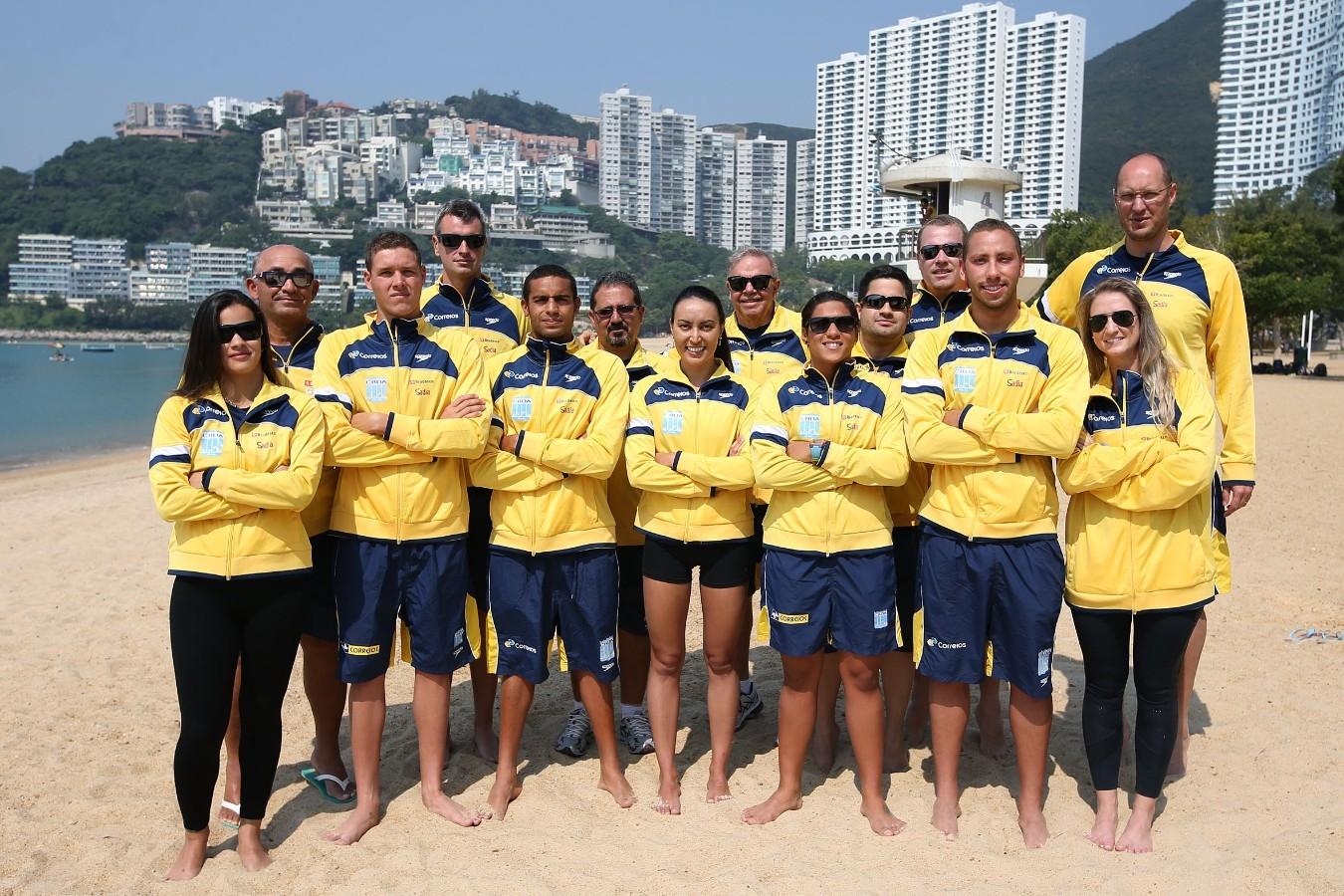 Equipe do Brasil. Treino preparatorio para Copa do Mundo de Maratonas Aquaticas, etapa Travessia de Hong Kong na Repulse Bay . 17 de Outubro de 2014, Hong Kong. Foto: Satiro Sodre/SSPress.