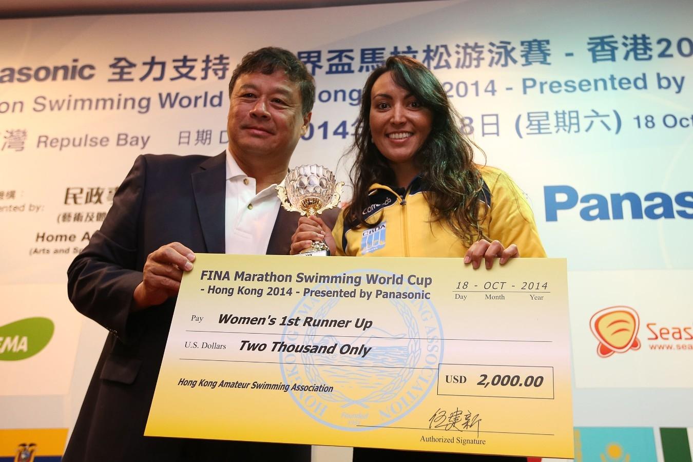 Poliana Okimoto. Copa do Mundo de Maratonas Aquaticas, etapa Travessia de Hong Kong na Repulse Bay. 18 de Outubro de 2014, Hong Kong. Foto: Satiro Sodre/SSPress.