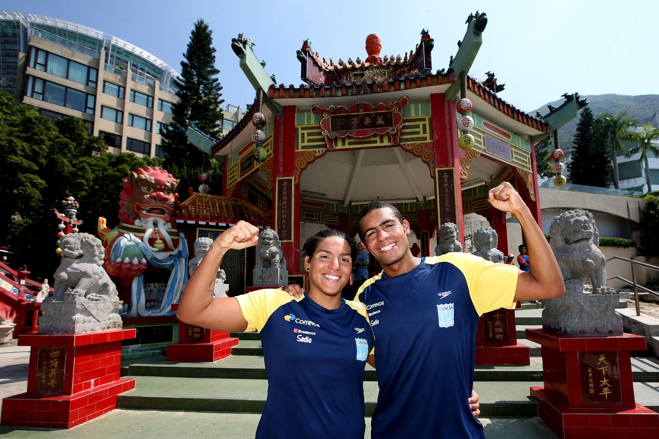 Ana Marcela, Allan do Carmo. Copa do Mundo de Maratonas Aquaticas, etapa Travessia de Hong Kong na Repulse Bay . 18 de Outubro de 2014, Hong Kong. Foto: Satiro Sodre/SSPress.