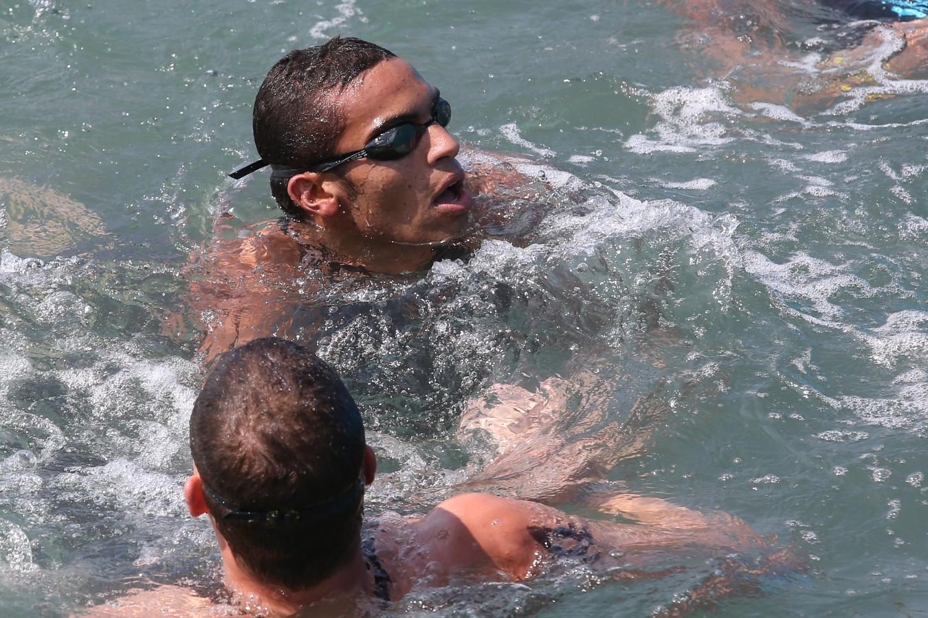 Allan do Carmo, Diogo Villarinho. Copa do Mundo de Maratonas Aquaticas, etapa Travessia de Hong Kong na Repulse Bay . 18 de Outubro de 2014, Hong Kong. Foto: Satiro Sodre/SSPress.