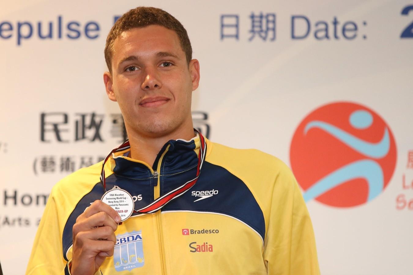 Diogo Villarinho. Copa do Mundo de Maratonas Aquaticas, etapa Travessia de Hong Kong na Repulse Bay. 18 de Outubro de 2014, Hong Kong. Foto: Satiro Sodre/SSPress.