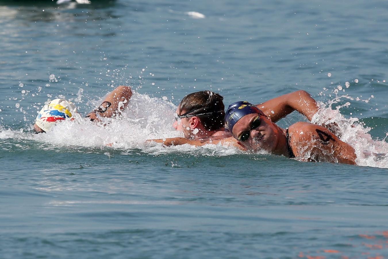 Diogo Villarinho. Copa do Mundo de Maratonas Aquaticas, etapa Travessia de Hong Kong na Repulse Bay . 18 de Outubro de 2014, Hong Kong. Foto: Satiro Sodre/SSPress.