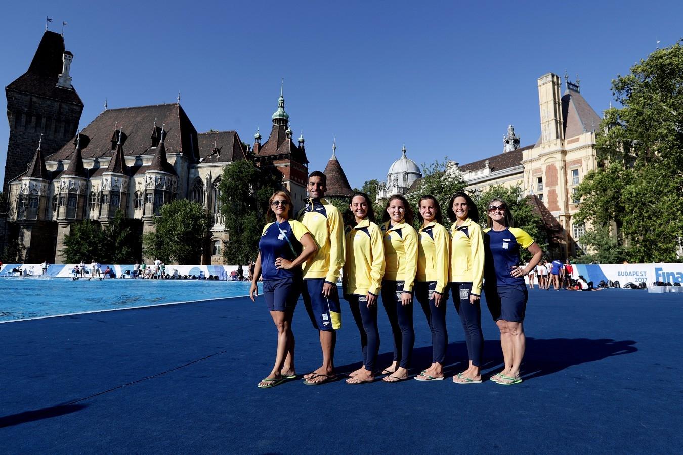 Selecao Brasileira de Nado Sincronizado. Campeonato Mundial de Desportos Aquaticos. City Park - Varosliget Lake . 13 de Julho de 2017, Hungria, Budapeste. Foto: Satiro Sodré/SSPress/CBDA