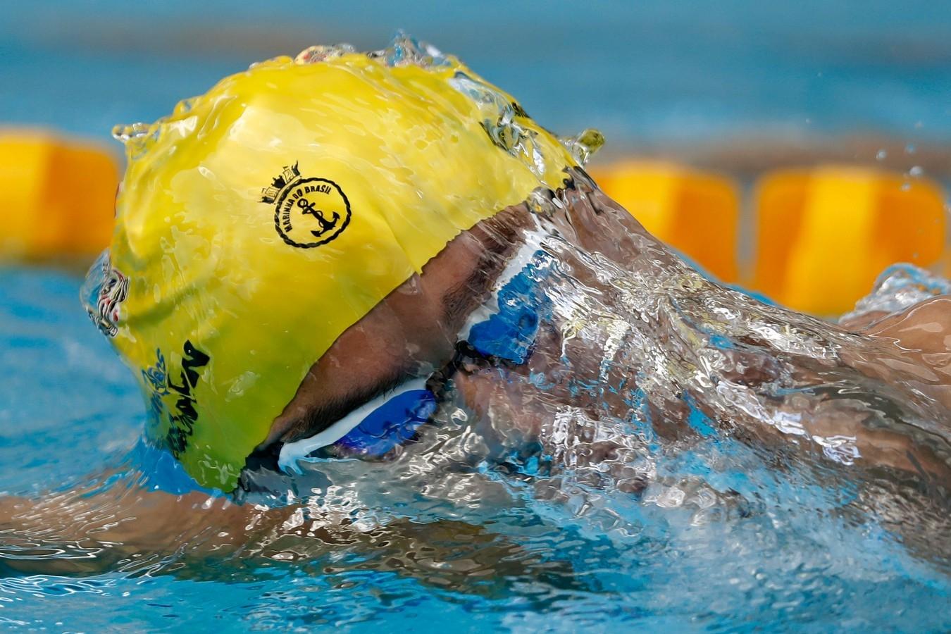 Brandonn Almeida. Troféu Brasil de Natacao no Parque Aquatico Maria Lenk. 17 de Abril de 2018. Rio de Janeiro, RJ, Brasil. Foto: Satiro Sodré/SSPress/CBDA